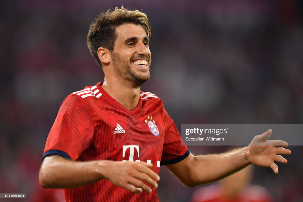 Javier Martinez of Bayern Muenchen celebrates scoring his teams first goal during the friendly match between Bayern Muenchen and Manchester United at Allianz Arena on August 5, 2018 in Munich, Germany.