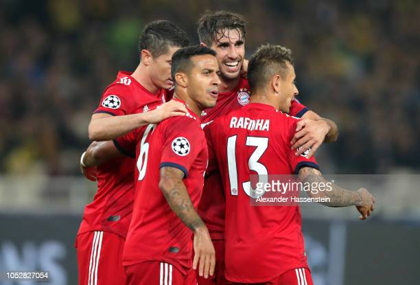 Javier Martinez of Bayern Munich celebrates after scoring his team's second goal during the Group E match of the UEFA Champions League between AEK...