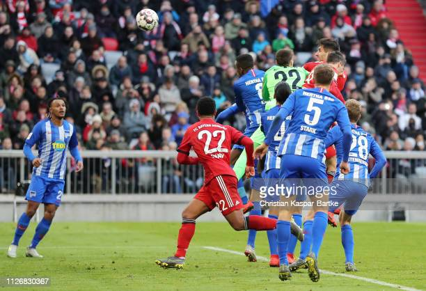 Javier Martinez of Bayern Munich scores his team's first goal during the Bundesliga match between FC Bayern Muenchen and Hertha BSC at Allianz Arena...