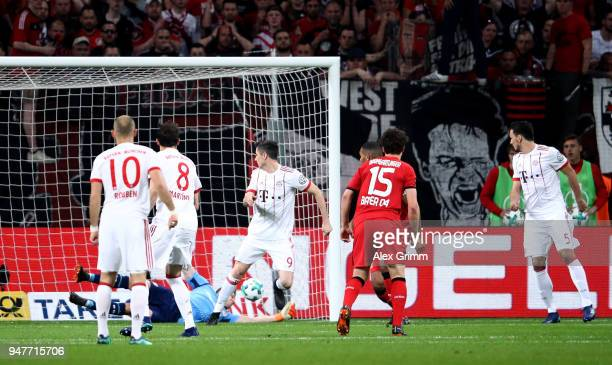 Javier Martinez of Bayern scores the opening goal during the DFB Cup semi final match between Bayer 04 Leverkusen and Bayern Munchen at BayArena on...