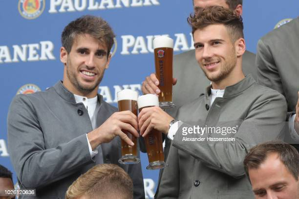 Javier Martinez of FC Bayern Muenchen and Leon Goretzka during the FC Bayern Muenchen and Paulaner Photo Session at FGV Schmidtle Studios on...