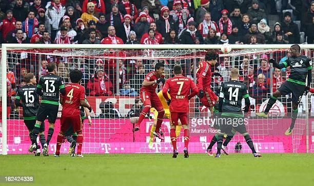 Javier Martinez of Muenchen heads his team's 2nd goal during the Bundesliga match between Bayern Muenchen and Werder Bremen at Allianz Arena on...