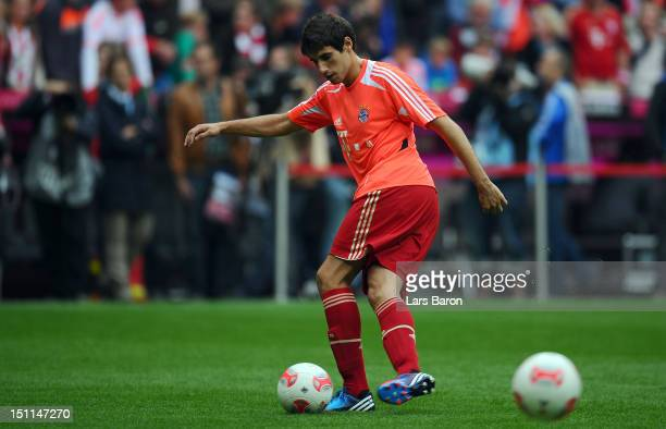 Javier Martinez of Muenchen warms up prior to the Bundesliga match between FC Bayern Muenchen and VfB Stuttgart at Allianz Arena on September 2 2012...