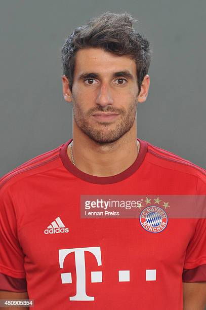 Javier Martinez poses during the team presentation of FC Bayern Muenchen at Bayern's training ground Saebener Strasse on July 16 2015 in Munich...