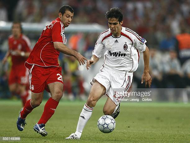 Javier Mascherano and Kaka during the 20062007 UEFA Champions League final between AC Milan and Liverpool FC