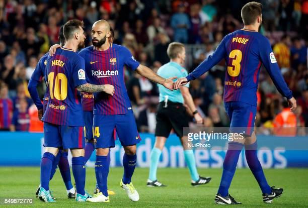 Javier Mascherano and Leo Messi celebration during La Liga match between FC Barcelona v SC Eibar in Barcelona on September 19 2017