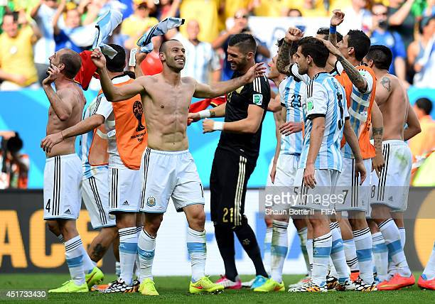 Javier Mascherano and players of Argentina celebrate the 1-0 win after the 2014 FIFA World Cup Brazil Quarter Final match between Argentina and...