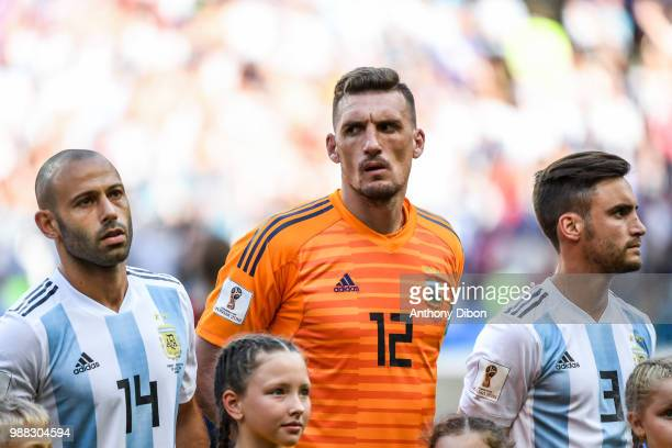 Javier Mascherano Franco Armani and Noclas Tagliafico of Argentina during the FIFA World Cup Round of 16 match between France and Argentina at Kazan...