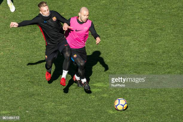 Javier Mascherano from Argentina of FC Barcelona and Deulofeu from Spain of FC Barcelona during the FC Barcelona open doors training session at Mini...