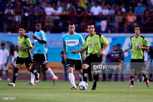 Javier Mascherano in action during the Game of Stars of the World Maya Cup at Olimpic Andres Quintana Roo Stadium on June 16 2012 in Cancun Mexico