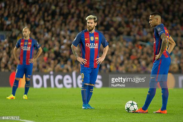 Javier Mascherano Leo Messi and Neymar Jr during the UEFA Champions League match between FC Barcelona and Manchester City in Barcelona on October 15...