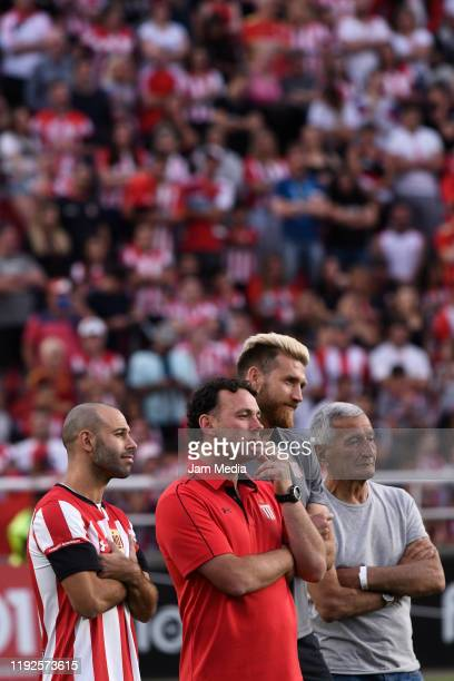 Javier Mascherano looks on during his presentation as new player of Estudiantes de La Plata at Jorge Luis Hirschi Stadium on December 7 2019 in La...