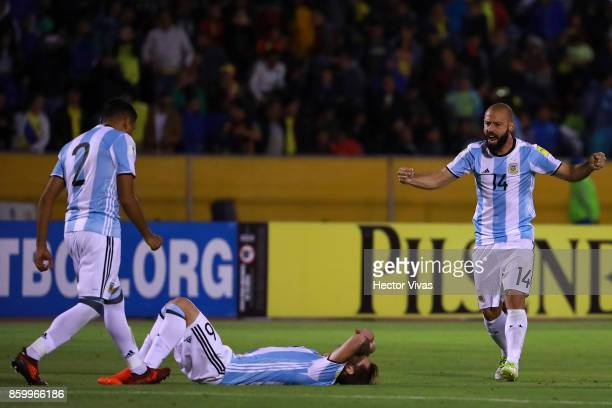 Javier Mascherano Lucas Biglia and Gabriel Mercado of Argentina celebrates after winning the game during a match between Ecuador and Argentina as...