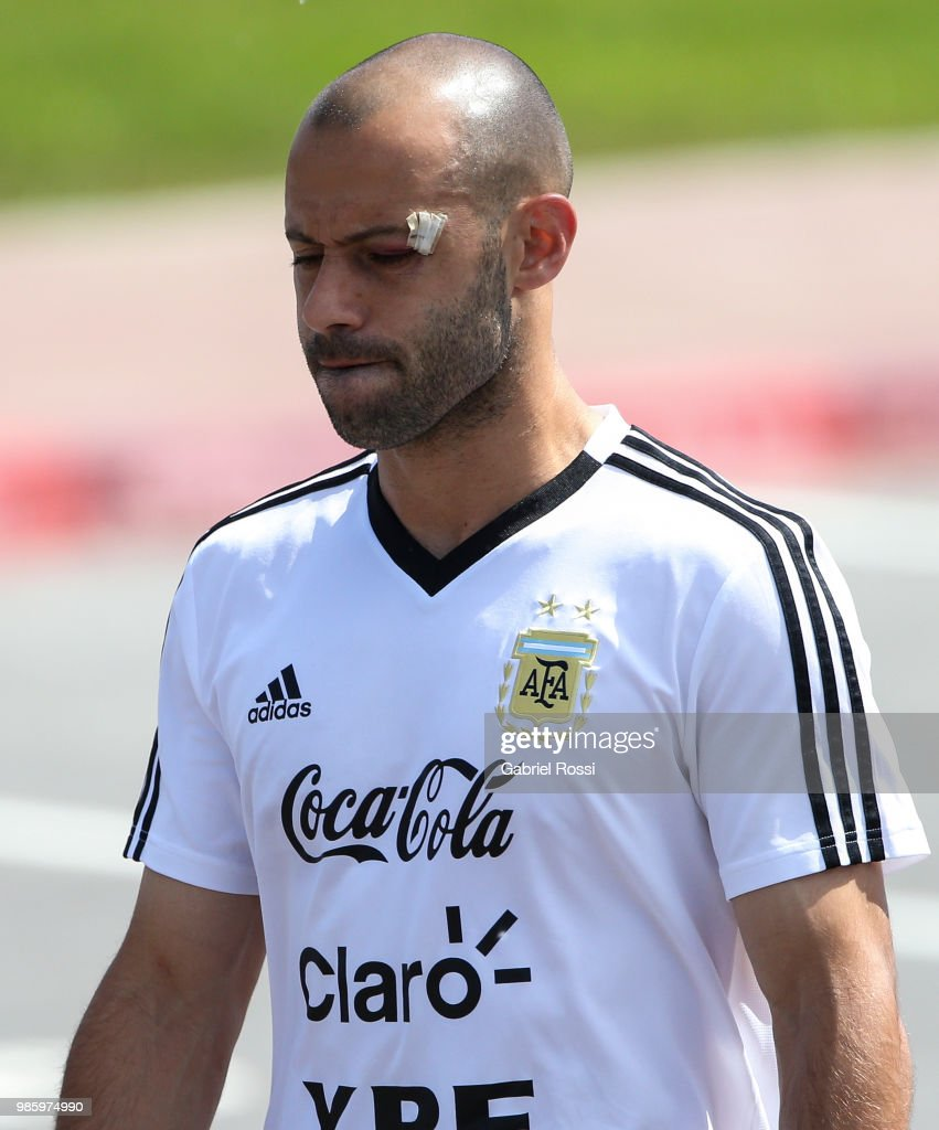 Javier Mascherano of Argentina arrives prior a training session at Stadium of Syroyezhkin sports school on June 27, 2018 in Bronnitsy, Russia.