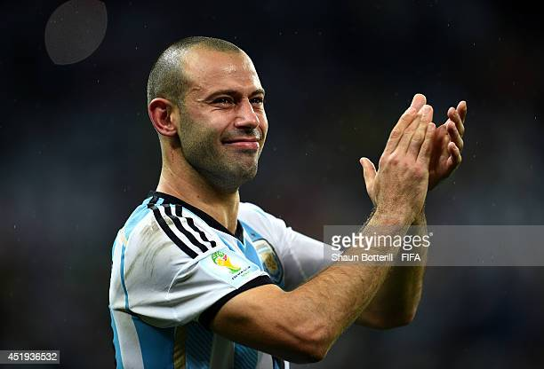 Javier Mascherano of Argentina celebrates the win in the penalty shootout after the 2014 FIFA World Cup Brazil Semi Final match between Netherlands...