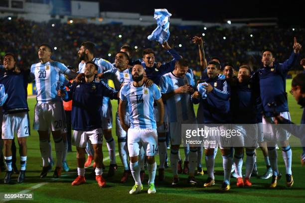 Javier Mascherano of Argentina celebrates with teammates after winning a match between Ecuador and Argentina as part of FIFA 2018 World Cup...