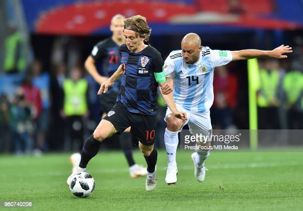 Javier Mascherano of Argentina competes with Luka Modric of Croatia during the 2018 FIFA World Cup Russia group D match between Argentina and Croatia...