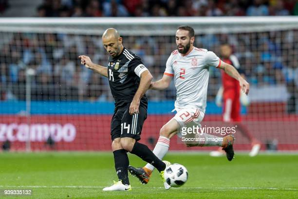 Javier Mascherano of Argentina Dani Carvajal of Spain during the International Friendly match between Spain v Argentina at the Estadio Wanda...