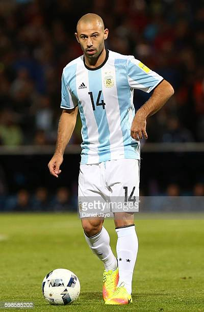 Javier Mascherano of Argentina drives the ball during a match between Argentina and Uruguay as part of FIFA 2018 World Cup Qualifiers at Malvinas...