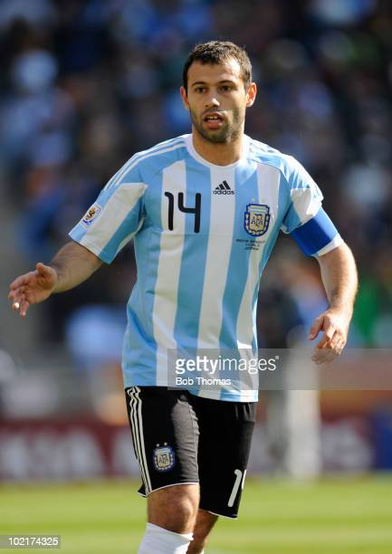 Javier Mascherano of Argentina during the 2010 FIFA World Cup South Africa Group B match between Argentina and South Korea at Soccer City Stadium on...