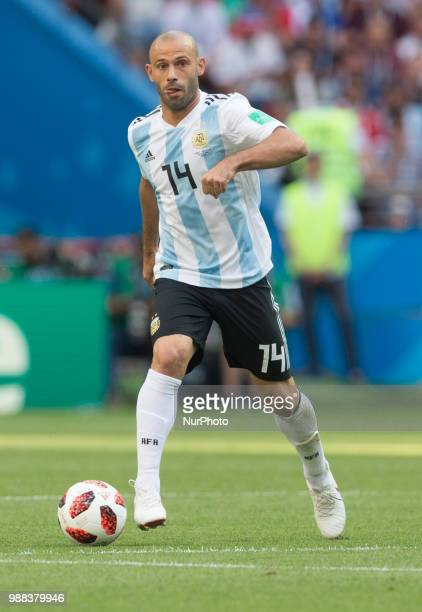 Javier Mascherano of Argentina during the 2018 FIFA World Cup Russia Round of 16 match between France and Argentina at Kazan Arena on June 30 2018 in...
