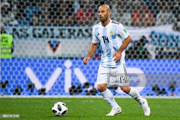 Javier Mascherano of Argentina during the FIFA World Cup Group D match between Argentina and Croatia at Nizhny Novogorod Stadium in Nizhny Novogorod...
