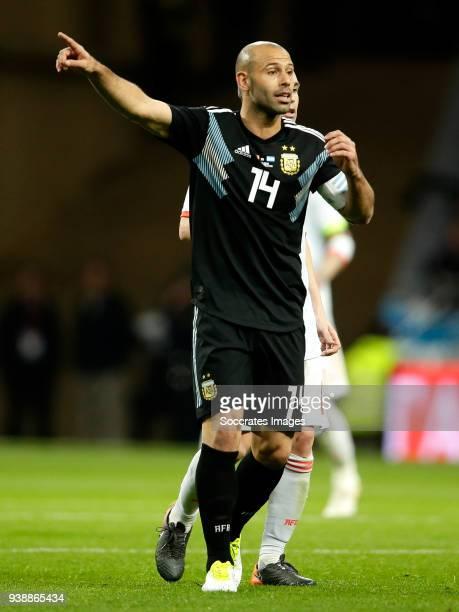 Javier Mascherano of Argentina during the International Friendly match between Spain v Argentina at the Estadio Wanda Metropolitano on March 27 2018...