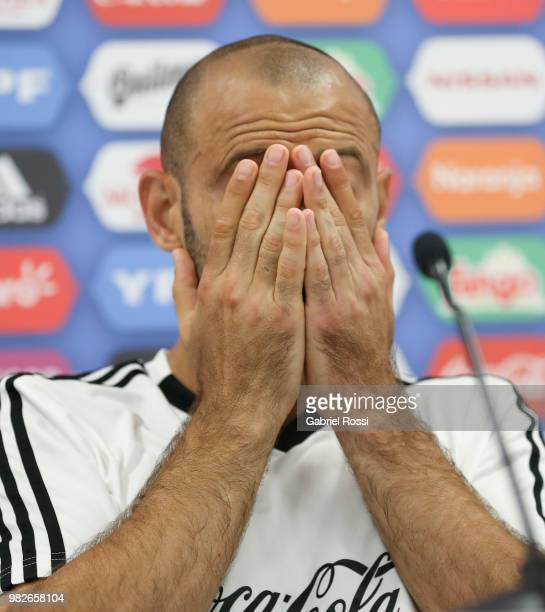 Javier Mascherano of Argentina gestures during a press conference at Stadium of Syroyezhkin sports school on June 24, 2018 in Bronnitsy, Russia.
