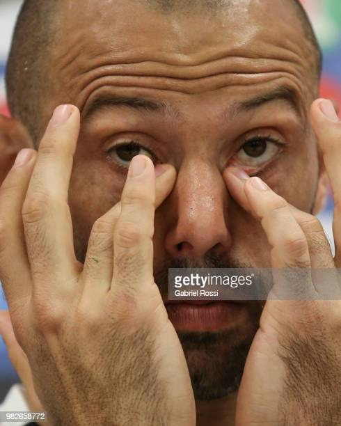 Javier Mascherano of Argentina gestures during a press conference at Stadium of Syroyezhkin sports school on June 24 2018 in Bronnitsy Russia