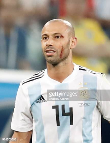 Javier Mascherano of Argentina gestures during the 2018 FIFA World Cup Russia Group D match between Nigeria and Argentina at the Saint Petersburg...