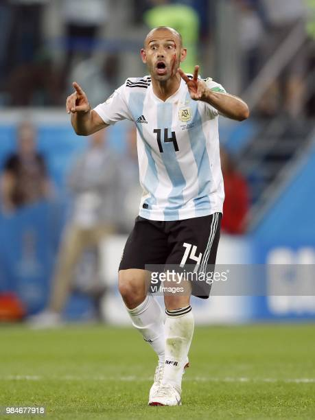 Javier Mascherano of Argentina gestures Iceland v Croatia result during the 2018 FIFA World Cup Russia group D match between Nigeria and Argentina at...
