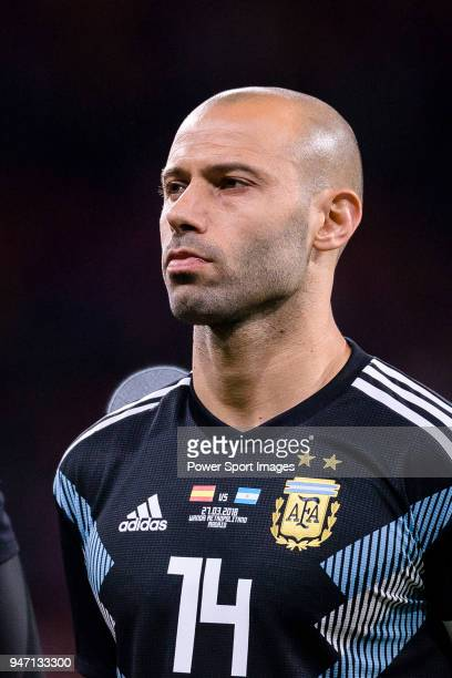 Javier Mascherano of Argentina getting into the field during the International Friendly 2018 match between Spain and Argentina at Wanda Metropolitano...