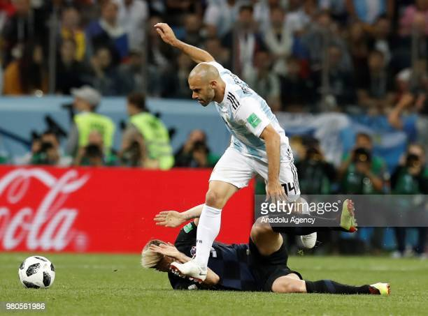 Javier Mascherano of Argentina in action against Ivan Rakitic of Croatia during the 2018 FIFA World Cup Russia Group D match between Argentina and...