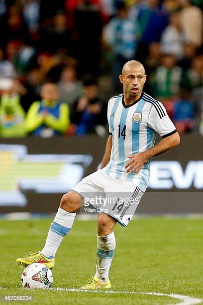 Javier Mascherano of Argentina in action during a match between Argentina and Brazil as part of 2014 Superclasico de las Americas at Bird Nest...
