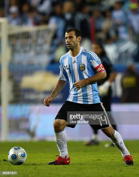 Javier Mascherano of Argentina in action during the friendly International football match Spain against Argentina at the Vicente Calderon stadium in...