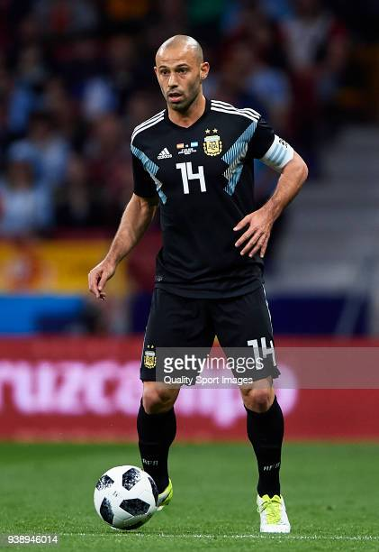 Javier Mascherano of Argentina in action during the international friendly match between Spain and Argentina at Wanda Metropolitano stadium on March...