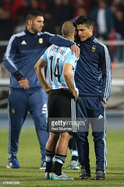 Javier Mascherano of Argentina looks dejected after the 2015 Copa America Chile Final match between Chile and Argentina at Nacional Stadium on July...