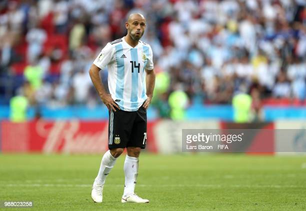 Javier Mascherano of Argentina looks dejected following the 2018 FIFA World Cup Russia Round of 16 match between France and Argentina at Kazan Arena...