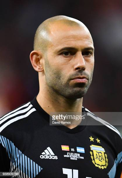 Javier Mascherano of Argentina looks on during an International friendly match between Spain and Argentina at the Wanda Metropolitano stadium on...