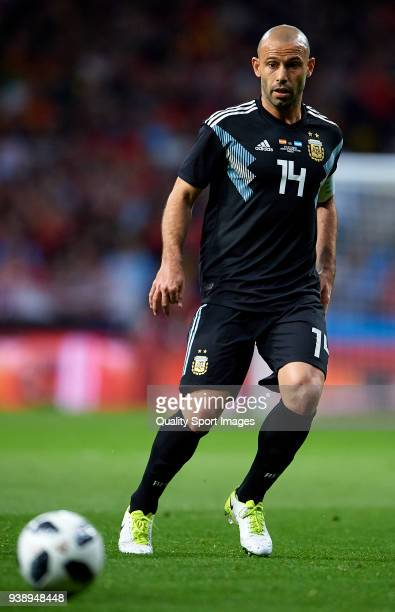 Javier Mascherano of Argentina looks on during the international friendly match between Spain and Argentina at Wanda Metropolitano stadium on March...