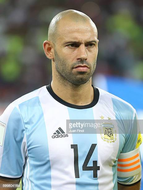 Javier Mascherano of Argentina looks on prior a match between Venezuela and Argentina as part of FIFA 2018 World Cup Qualifiers at Metropolitano...