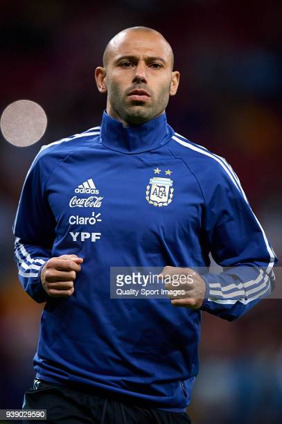 Javier Mascherano of Argentina looks on prior the International friendly match between Spain and Argentina at Metropolitano Stadium on March 27 2018...