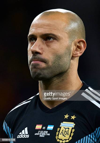 Javier Mascherano of Argentina looks on prior to the international friendly match between Spain and Argentina at Wanda Metropolitano stadium on March...