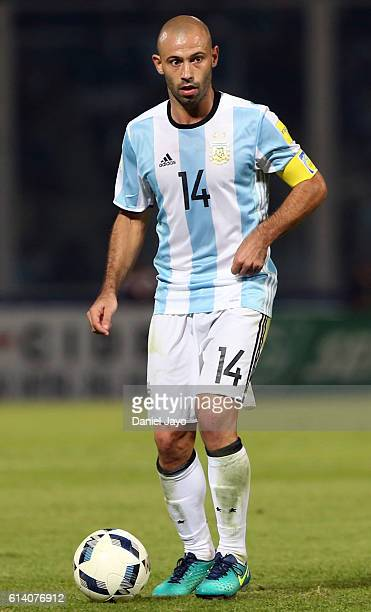 Javier Mascherano of Argentina plays the ball during a match between Argentina and Paraguay as part of FIFA 2018 World Cup Qualifiers at Mario...