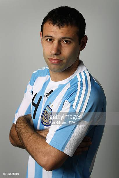 Javier Mascherano of Argentina poses during the official FIFA World Cup 2010 portrait session on June 5, 2010 in Pretoria, South Africa.