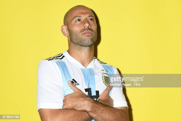 Javier Mascherano of Argentina poses during the official FIFA World Cup 2018 portrait session at on June 12 2018 in Moscow Russia