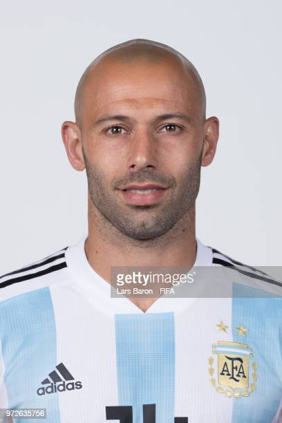 Javier Mascherano of Argentina poses for a portrait during the official FIFA World Cup 2018 portrait session on June 12 2018 in Moscow Russia