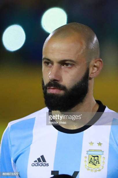 Javier Mascherano of Argentina poses prior a match between Ecuador and Argentina as part of FIFA 2018 World Cup Qualifiers at Olimpico Atahualpa...