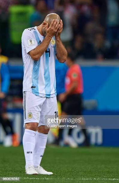 Javier Mascherano of Argentina reacts during the 2018 FIFA World Cup Russia group D match between Argentina and Croatia at Nizhny Novgorod Stadium on...