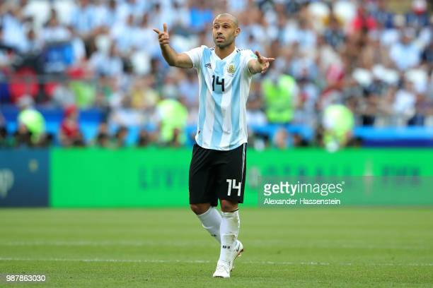 Javier Mascherano of Argentina reacts during the 2018 FIFA World Cup Russia Round of 16 match between France and Argentina at Kazan Arena on June 30...